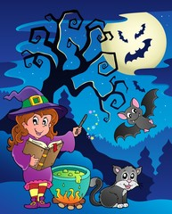 Deurstickers Katten Scene with Halloween theme 9