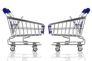 two blue shopping cart isolated