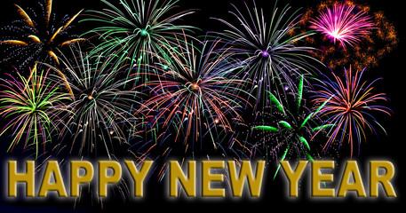 Happy new year mit Feuerwerk