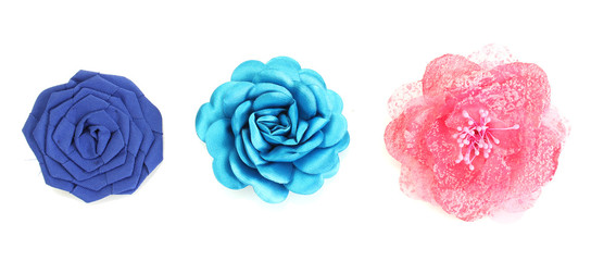 beautiful cloth artificial flowers isolated on white