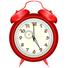 Vector icon of red alarm clock