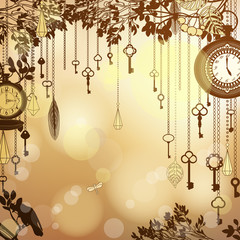 Antique golden background with clocks and keys