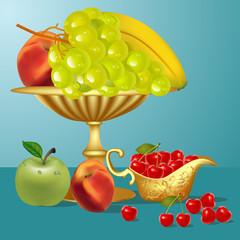 fruits banana,cherry, apple and vase