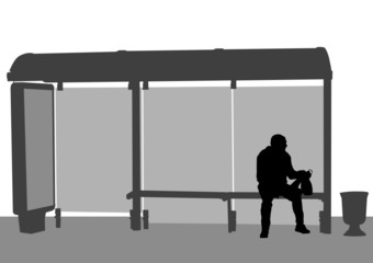 Wall Mural - Man on bus stop