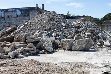 Concrete rubble debris