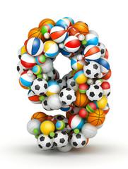 Number 9, gaming balls alphabet