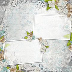 Romantic  vintage  white background with frames,  flowers