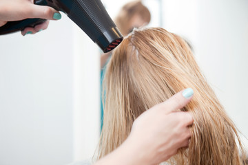 Stylist Drying Womans Hair
