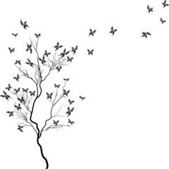 tree with black butterflies