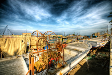 romantic scene of fishing boats at a port in Saida, South lebanon