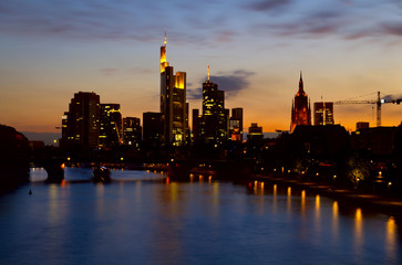 Fototapete - Frankfurt city at night