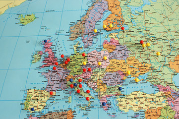 Fotobehang Oost Europa Europe Map With Pins