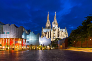 Cologne Dom and Opera at night