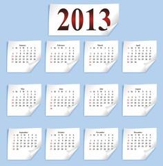 vector calendar 2013 on small white paper