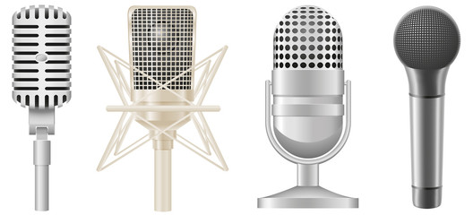 icon set of microphones vector illustration