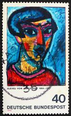 Postage stamp Germany 1974 Portrait in Blue by Alexej von Jawlen
