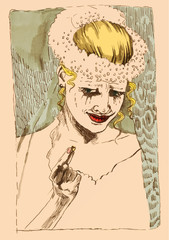 hand drawing illustration converted into vector : Sad bride