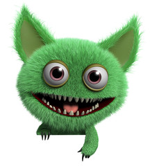 Zelfklevend Fotobehang Sweet Monsters furry gremlin