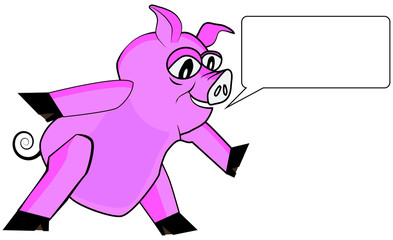pink pig speaking illustration