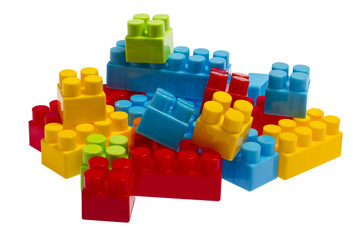 Lego plastic toy blocks, red, blue, green, yellow