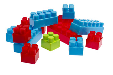 Lego plastic toy blocks red, blue, green