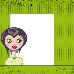 girl with label on green background