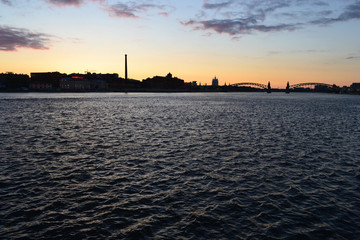 Neva river at sunset, St.Petersburg