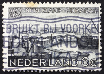 Postage stamp Netherlands 1934 Willemstad Harbor, Curacao