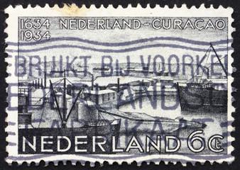 Postage stamp Netherlands 1934 Willemstad Harbor, Curacao