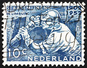 Postage stamp Netherlands 1952 Miner at Work