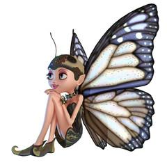 Foto op Aluminium Feeën en elfen elf butterfly thinking about