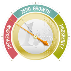 Concept illustrating the European crisis with a barometer