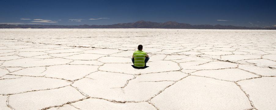 Solitary man in Salinas Grandes, Argentina