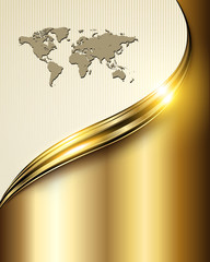 Business background gold with world map.