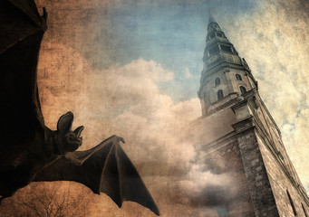 Mystical background, bat and old castle