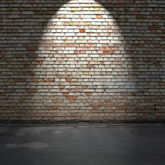Brick wall and concrete floor