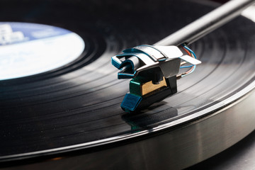 Vinyl analog record player cartridge and LP