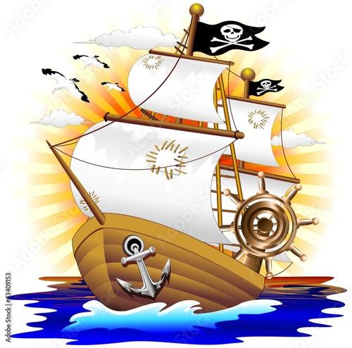 Nave pirata cartoon pirate ship vector immagini e for Scarica clipart