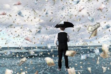 Money rain and businessman with umbrella