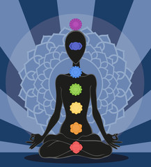 Man silhouette in yoga position with the symbols of seven chakra