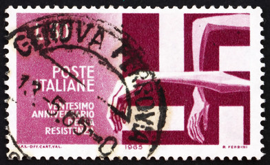 Postage stamp Italy 1965 Victims Trapped by Swastika