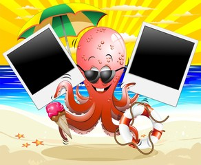 Polpo Vacanze al Mare Cartoon Octopus Summer Holidays