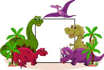 Photo sur Plexiglas Dinosaurs funny dinosaur with blank sign