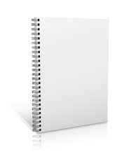 Blank book with white cover on white background