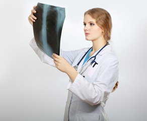 Female doctor with X-ray picture