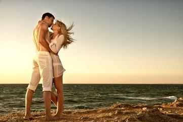 Romantic couple on the sea