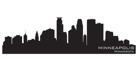 Fototapete - Minneapolis, Minnesota skyline. Detailed vector silhouette