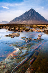 Scottish highlands landscape scene with mountain and river