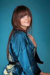 Beautiful woman in oriental robe