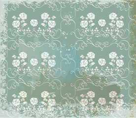 Green  vintage background   with white roses